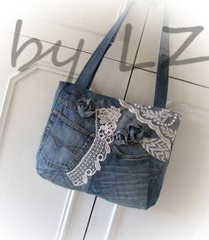patchwork denim bag jeans baghandmade denim bag от klaptykart