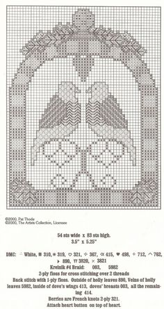 The Twelve Days of Christmas - Two Turtle Doves (Pg 2 of Cross Stitch Bird, Cross Stitch Samplers, Cross Stitch Embroidery, Cross Stitch Patterns, Quilt Patterns, Quilting Ideas, Twelve Days Of Christmas, Christmas Cross, Christmas Themes