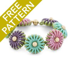 Stitch up this adorable Chrysanthemum Bracelet with a Free Pattern from FusionBeads.com.