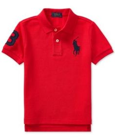 Ralph Lauren Embroidered Cotton Polo, Little Boys - Signal Red 7 Ralph Lauren Style, Polo Ralph Lauren, Gucci T Shirt Mens, Baby Jeans, Stylish Mens Outfits, Camisa Polo, Short Sleeve Polo Shirts, Sports Shirts, Cool Shirts