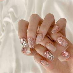 Gem Nails, Diamond Nails, Hair And Nails, Korean Nail Art, Korean Nails, Stylish Nails, Trendy Nails, Cute Nail Art, Cute Nails