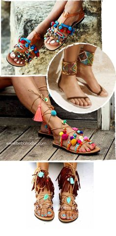 Very Cute Summer Shoes. These Shoes Will Look Good With Any Outfit. Hippie Shoes, Boho Shoes, Boho Sandals, Bare Foot Sandals, Estilo Hippie, Hippie Chic, Hippie Style, Diy Vetement, Look Boho