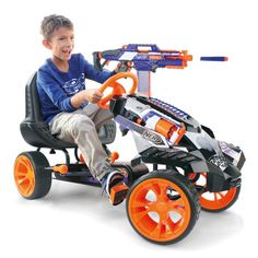Age Range: 4+ Experience Level: Beginner Assembly: Part Assembled Carries up to 4 Nerf Blasters; Holders for loads of Nerf darts; Sturdy steel frame; tool-free adjustable seat Forward and reverse gears; Free-wheel function; Easy chain driive adjustment hand brake; sure-grip tyres. From age 4 to 10 years Warning Message: Warning: Not suitable for children under 3 years