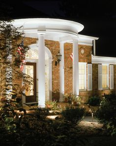 This Handsome Portico And Architectural Columns Is Even More Welcoming Impressive At Night Thanks To A Custom Outdoor Lighting Perspectives Design