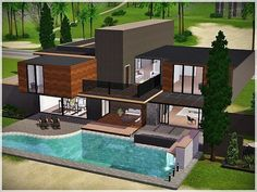 New modern house for you! This interior and exterior house designed with contemporary style Found in TSR Category 'Sims 3 Residential Lots' Sims 4 Modern House, Sims 2 House, Sims 4 House Building, Sims 4 House Design, Sims House Plans, Sims 3 Houses Ideas, Sims 4 Houses Layout, House Layouts, Casas The Sims Freeplay