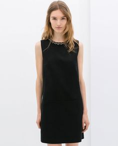 Image 2 of DRESS WITH EMBELLISHED NECKLINE from Zara Zara Dresses 3f107874a80