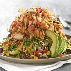 Crunchy BBQ Chicken Salad, it's the perfect balance of sweet and savory, creamy and crunchy, light and satisfying. #SummerSalad #BBQChicken #MarieCallenders