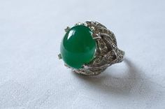 PANETTA Sterling Jade Cabochon and Rhinestone Ring 1950s Vintage Moonstone Ring, Jade, 1950s, Gemstone Rings, Gemstones, Unique Jewelry, Handmade Gifts, Vintage, Etsy