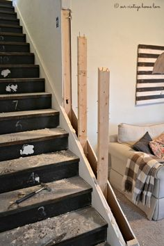 wall on stairs and replace with rail. Removing half wall on stairs and replace with rail… Removing half wall on stairs and replace with rail. Removing half wall on stairs and replace with rail… Basement Stairway Stair Renovation, Basement Renovations, Home Remodeling, Basement Ideas, Cozy Basement, Basement Stairway, Stairway Walls, Open Stairs, Attic Stairs