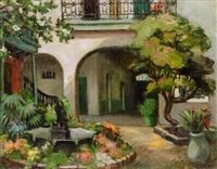 French Quarter Courtyard by Alberta Kinsey