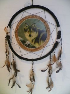 Large 45cm Native American DREAMCATCHER WOLF IDEAL GIFT NEW