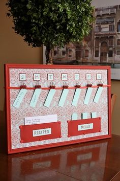 DIY Cork board Menu Planner