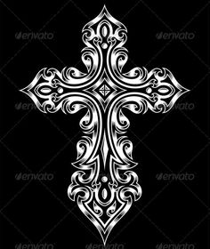 Buy Gothic Cross by vectorfreak on GraphicRiver. fully editable vector illustration (editable EPS) of gothic cross in white on isolated black background, image suitab. Celtic Cross Tattoos, Cross Tattoo For Men, Celtic Art, Gothic Crosses, White Crosses, Wall Crosses, Crosses Decor, Arte Led Zeppelin, Cruces Tattoo
