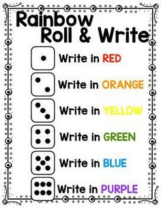 Rainbow Roll & Write by Hopping into Kindergarten with Rachel Dolehanty Spelling Word Practice, Spelling Words, Writing Practice, Spelling Menu, Writing Skills, Rainbow Activities, Spelling Activities, Sight Word Activities, Teaching Activities