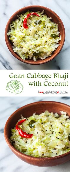 The vegetarian Goan Cabbage Foogath Bhaji recipe is simply steamed cabbage with minimal spices, usually paired in Goa with the fish curry-rice staple