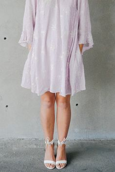 LOVELY LILAC DRESS || @beherenowclothing || @chanroberson || Spring, summer, cute dress, simple, floral, embroidered.