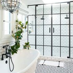 #industrialshiwedoors #warehousewindows #blackandwhitebathroom This was the inspiration for my updated mirrored closet doors. Love this look! Nothing like classic black and white together! Source: decor pad Byrd Design
