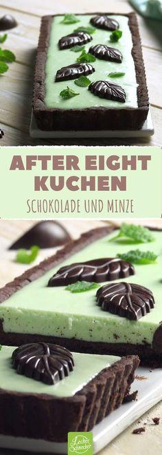 Schokolade mit dem Geschmack von frischer Pfefferminze vereint! #rezept #rezepte #backen #tarte #kuchen #schoko #minze #aftereight #sirup