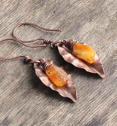 Copper earrings amber earrings long earrings bohemian от JTeodora