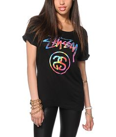 A soft and lightweight t-shirt made with a relaxed fit and rolled sleeve cuffs features a colorful tie dye Stussy stock link graphic for some radical flavor.