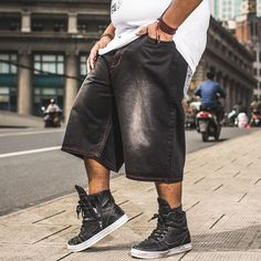 >> Click to Buy << Mens Straight Loose Hiphop Streetwear Baggy Jeans Shorts Men Summer Shorts Jeans Bermuda Black Short Pants Plus Size 40 42 44 46 #Affiliate