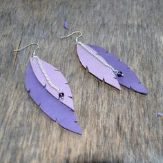 earrings purple feathers pale pink leather by jewelryleather