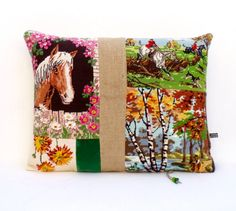 Collage French Needlepoint Tapestry Horse Riding by Retrocollects £45
