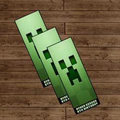 Minecraft Creeper Bookmark Party Favor - Minecraft Birthday Party - DIY Printable
