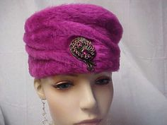 Fushia furry pill box hat with front jeweled by designer2 on Etsy, $25.00