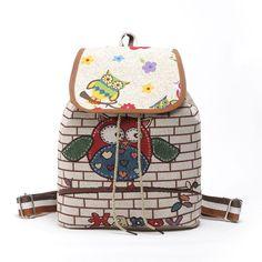 Backpack Ladies Women Girls Cute Owl  Rucksack School Gym Travel Work Bag