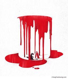 ilustraciones espacios negativos caperucita roja Hermosas ilustraciones usando espacios negativos por Tang Yau Hoong