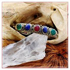 ❣❣✨Nepali Multi Stone Cuff✨ ✨Handcrafted By Tibetan Master Craftsman✨Beautiful Adjustable Cuff Bracelet✨Copper, Brass And Tibetan Silver✨Multiple Stones✨ Jewelry Bracelets