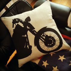 Items similar to Motorcycle pillow black on natural sandstone canvas on Etsy