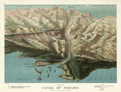 Panoramic view of the canal of Panama, 1881 #map #panama #panamacanal