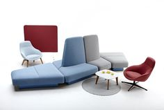 Rhyme with Barry screen, marble Dalby coffee table and Always lounge chairs