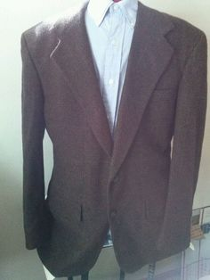 Gorgeous Camel Hair Blazer Sport Coat Jacket Plaid Mark Berman & Sons 44R #MarkBermanSons #TwoButton