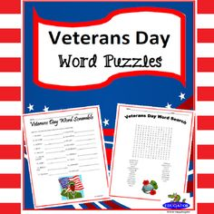 You get two Veterans Day puzzles - a Word Search and Veteran's Day Word Scramble. Fun word puzzles. The Word Scramble has 18 words related to Veterans Day - such as heroes, honor, patriotic, military, veteran, etc. Like a jumble, students have to unscramble the letters to come up with the words.