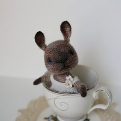Crochet beige bunny with white crocheted dress with от LozArts
