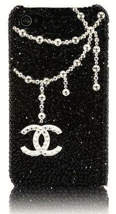 Chanel iPhone Case crystallized with rhinestones.  LOVE!  www.harmanbeads.com