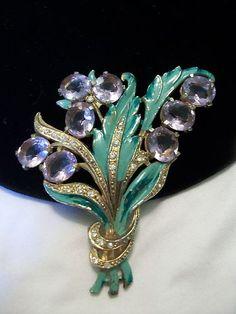 Vintage 1930s Art Deco Glass Cab Flower Rhinestone Enamel Pot Metal Brooch Pin | eBay