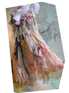 RESERVED For LUCY Unique Art To Wear Cotton Summer Dress Peach GirlL With Roses Daffodil Romantic Hippie Gipsy Boho Feminine Tattered