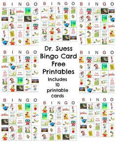 Happy Birthday Dr. Seuss! Dr. Seuss Free Bingo #printable Includes 10 game card printable.