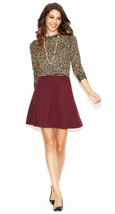 Love this outfit idea - already have the maroon skirt!