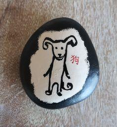 狗 Gǒu (Dog) [Created: February 12, 2021]   1 of 12 Chinese zodiac painted rocks February 12, Chinese Zodiac, Rock Painting, Painted Rocks, Decorative Plates, Photo And Video, Dog, Create, Collection