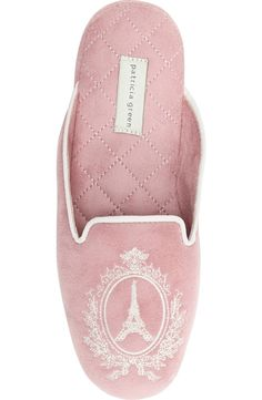How cute are these cozy pink slippers with a French flair?
