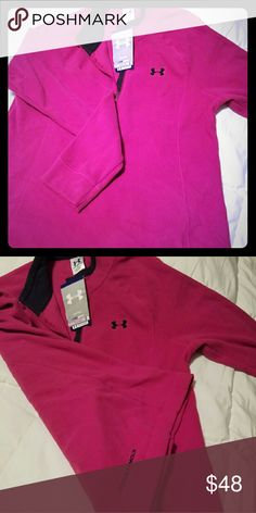 Under Armour Womens Hundo Microfleece, sz Lg, pink This quarter zip Under Armour pullover is a super soft fleece with the 8Under Armour written logo on the bottom of the back. It is a size large, brand new, never been worn. It is women's coldgear, loose which means fitting generously and flows with body movement. It's ideal uses total training so you can wear it to the gym or out running or whatever you want because it provides temperature regulation and moisture transport. I bought online…