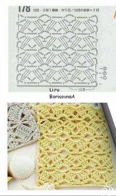 Crochet shawl pattern diagram ideas 42 ideas Knitting and crocheted shawls h Motif Bikini Crochet, Crochet Motifs, Crochet Diagram, Crochet Stitches Patterns, Crochet Chart, Crochet Lace, Stitch Patterns, Knitting Patterns, Gilet Crochet