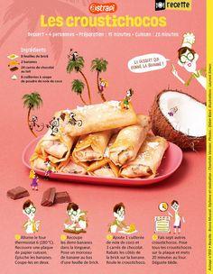 Les croustichoco (feuille de brik banane chocolat noix de coco) - Astrapi