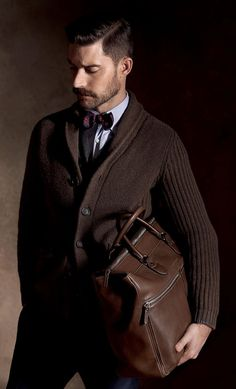 Brown Cashmere Shawl Collar Cardigan & Brown Leather Weekend Bag, by Brunello Cucinelli. Mens Fall Winter Fashion.