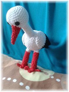 háčkovaný bocian/crochet stork